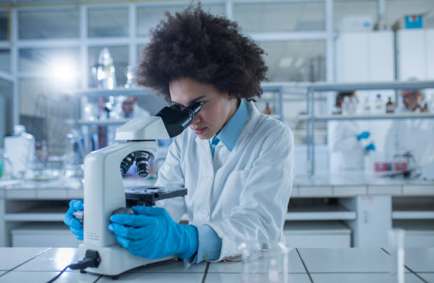 african american female doctor looking through a microscope while working on scientific research in laboratory. - ricerca scientifica foto e immagini stock