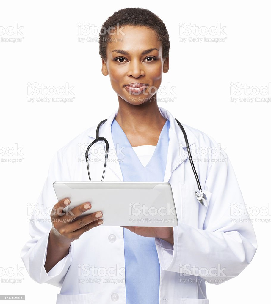 African American Female Doctor With a Digital Tablet - Isolated royalty-free stock photo