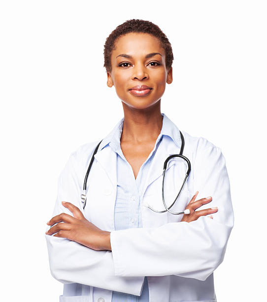 African American Female Doctor With Arms Crossed - Isolated stock photo
