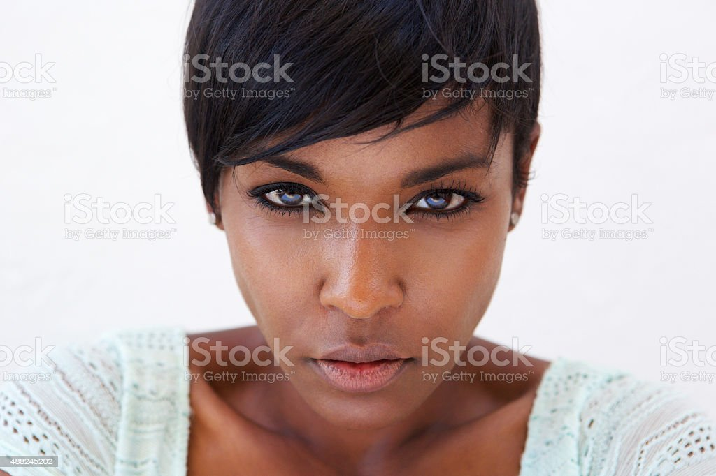 African american female fashion model face stock photo