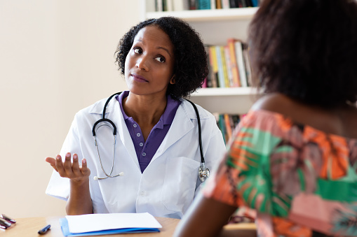 African American Female Gynecologist Talking To Patient -8710