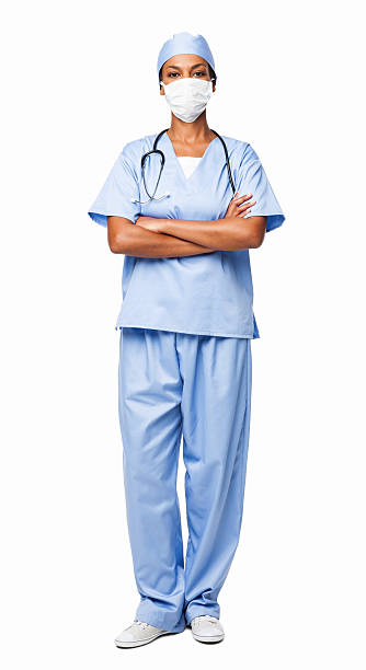 African American Female Healthcare Professional In Scrubs - Isol stock photo