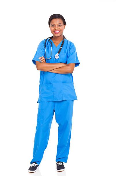 african american female intern nurse stock photo