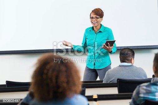 istock African American female professor giving lecture in college classroom 520603497