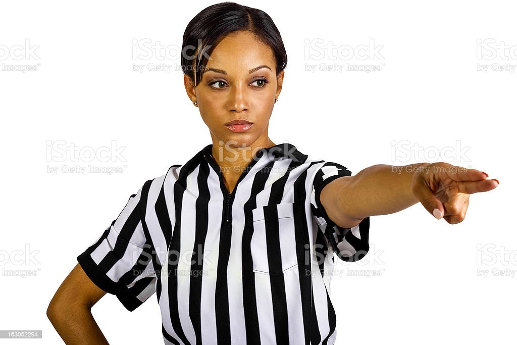 African American Female Referee Wearing a Striped Uniform stock photo