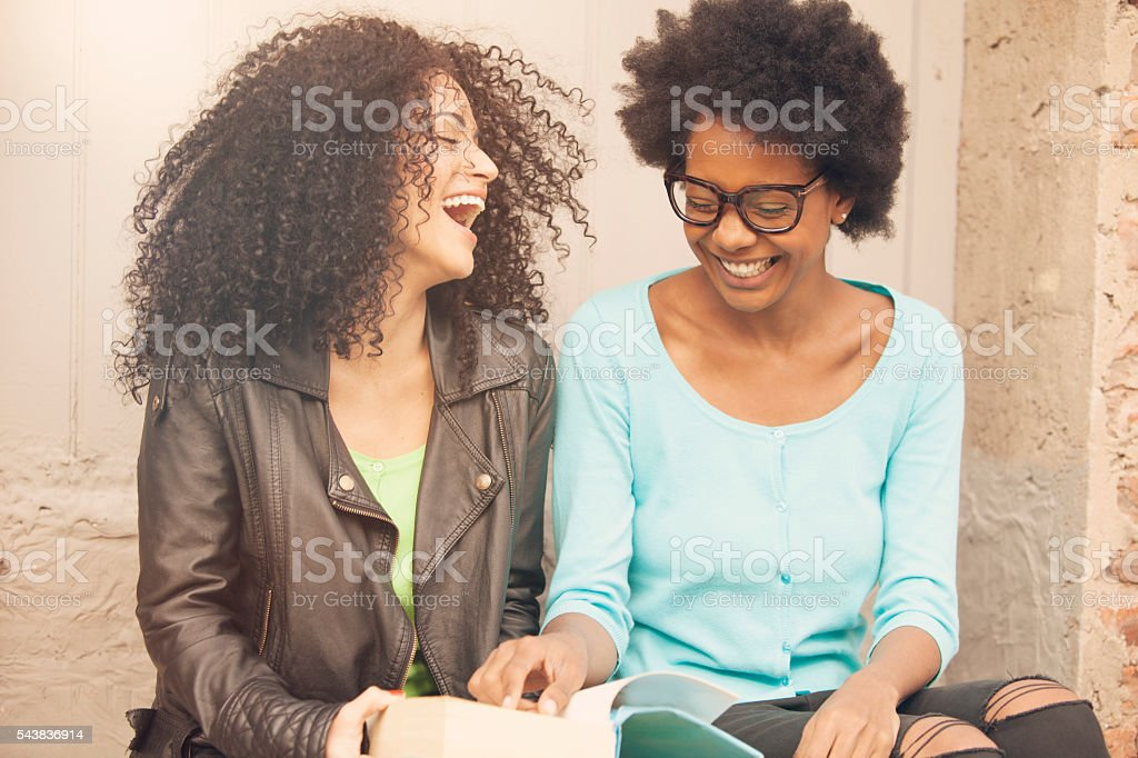 African american friends studying stock photo