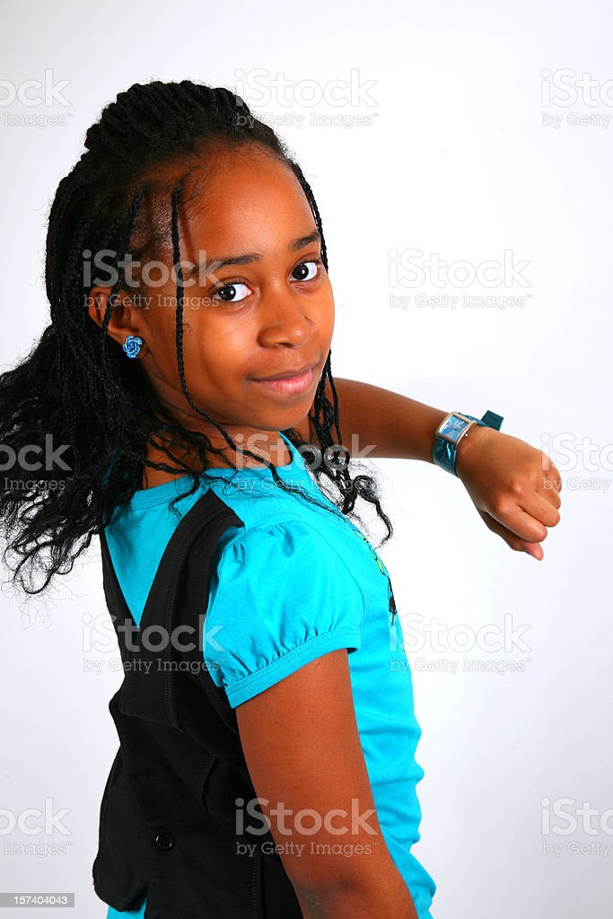 African American Girl Checking Time royalty-free stock photo