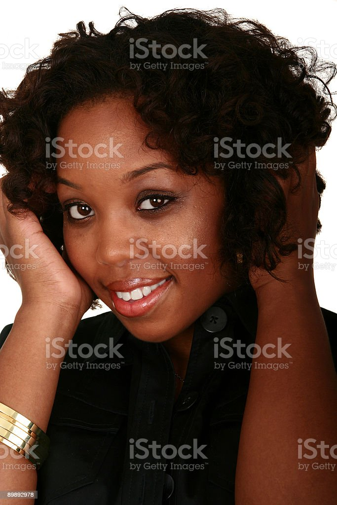 African American Girl Head Shot Smile royalty-free stock photo