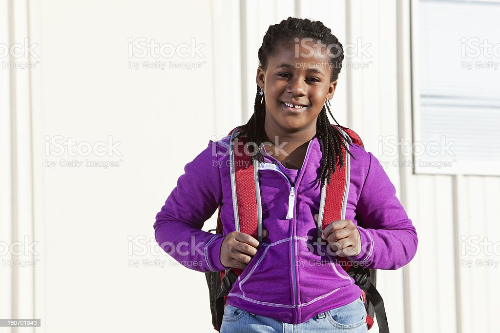 African American girl ready for school stock photo