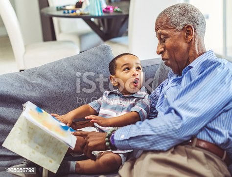 Adorable toddler with his grandfather relaxing at home reading a book together