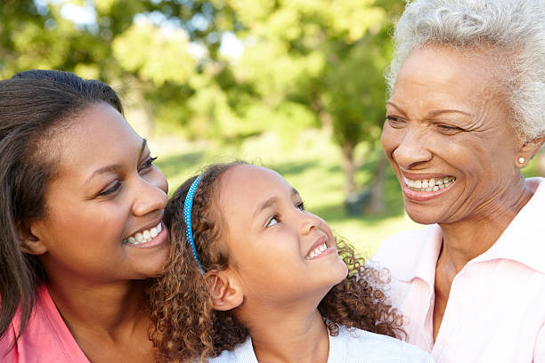 African American Grandmother, Mother And Daughter In Park stock photo