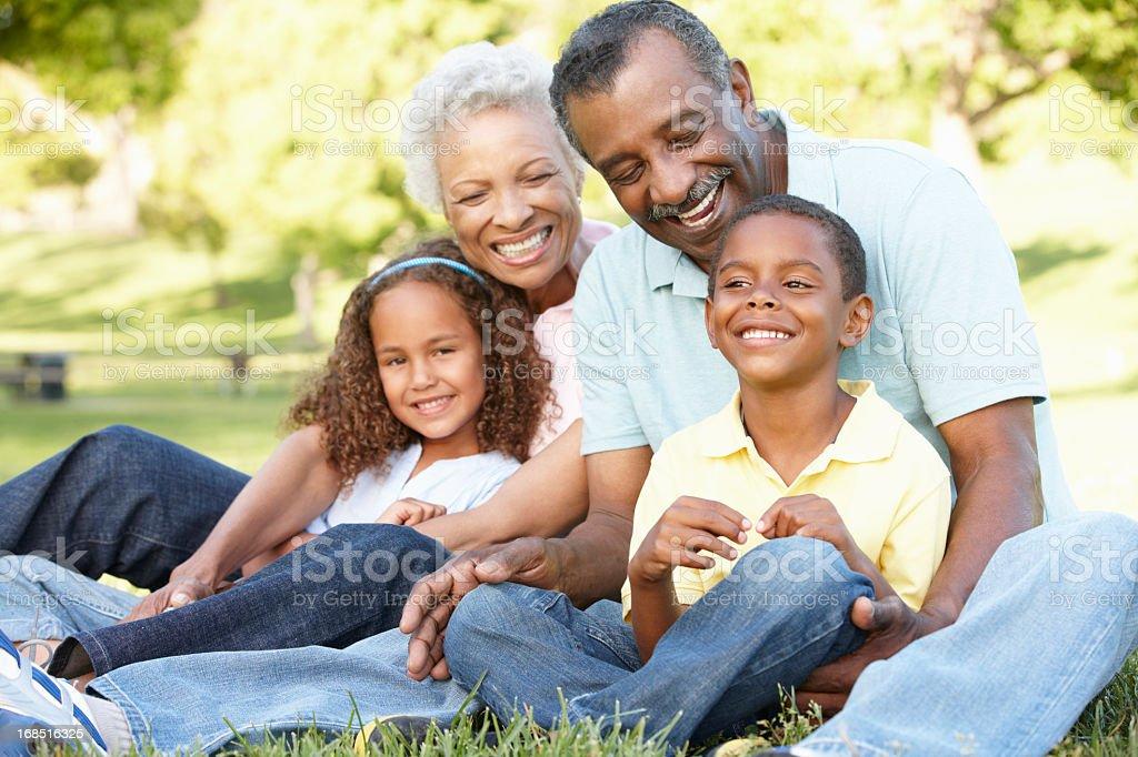 African American Grandparents With Grandchildren In Park stock photo
