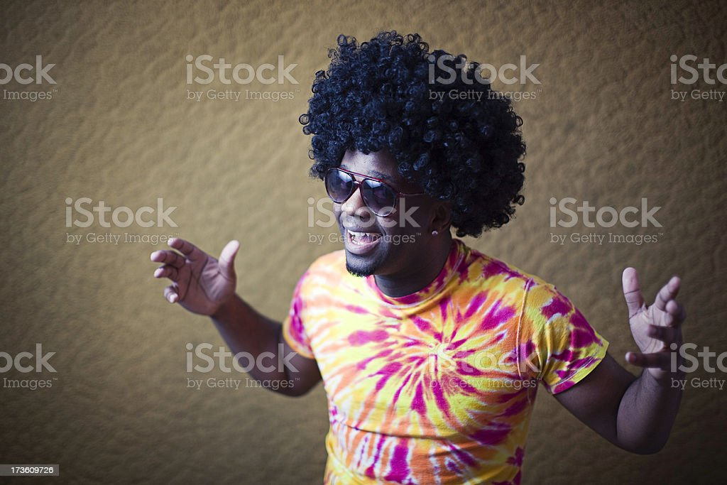 African American Hippy with Afro Gesturing Hello stock photo