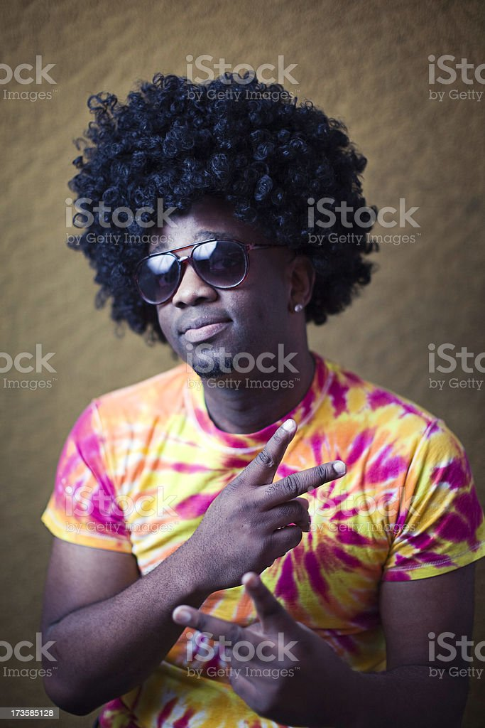 African American Hippy with Afro stock photo