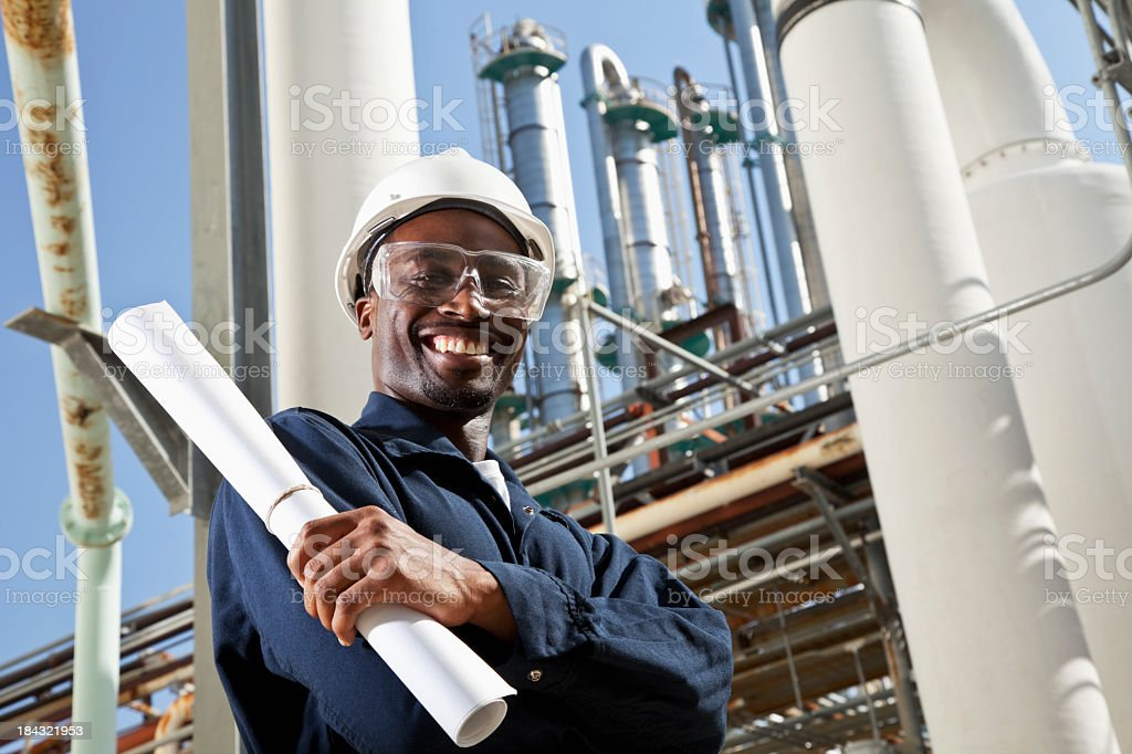 African American industrial worker stock photo