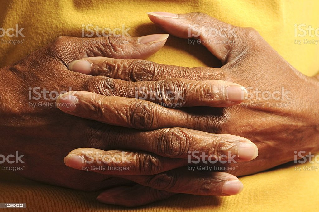 African American Interlocked Senior  Fingers royalty-free stock photo