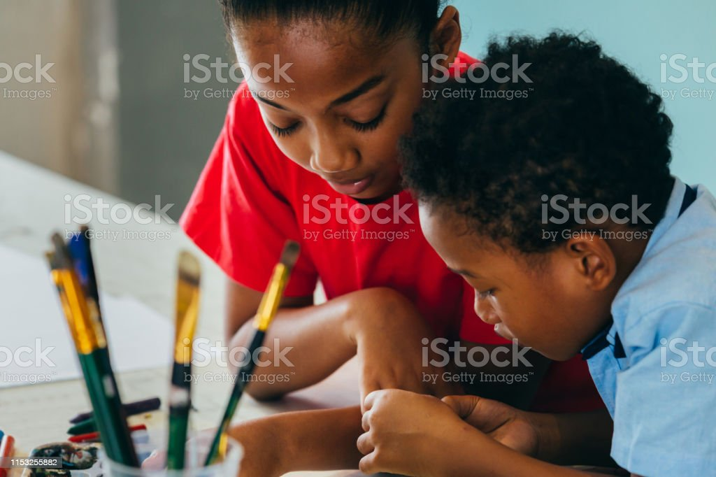 African American kids drawing and painting - Royalty-free African Ethnicity Stock Photo