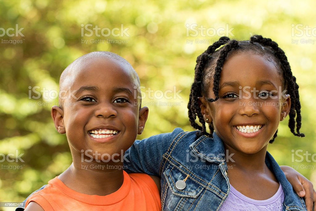 African American kids smiling. stock photo