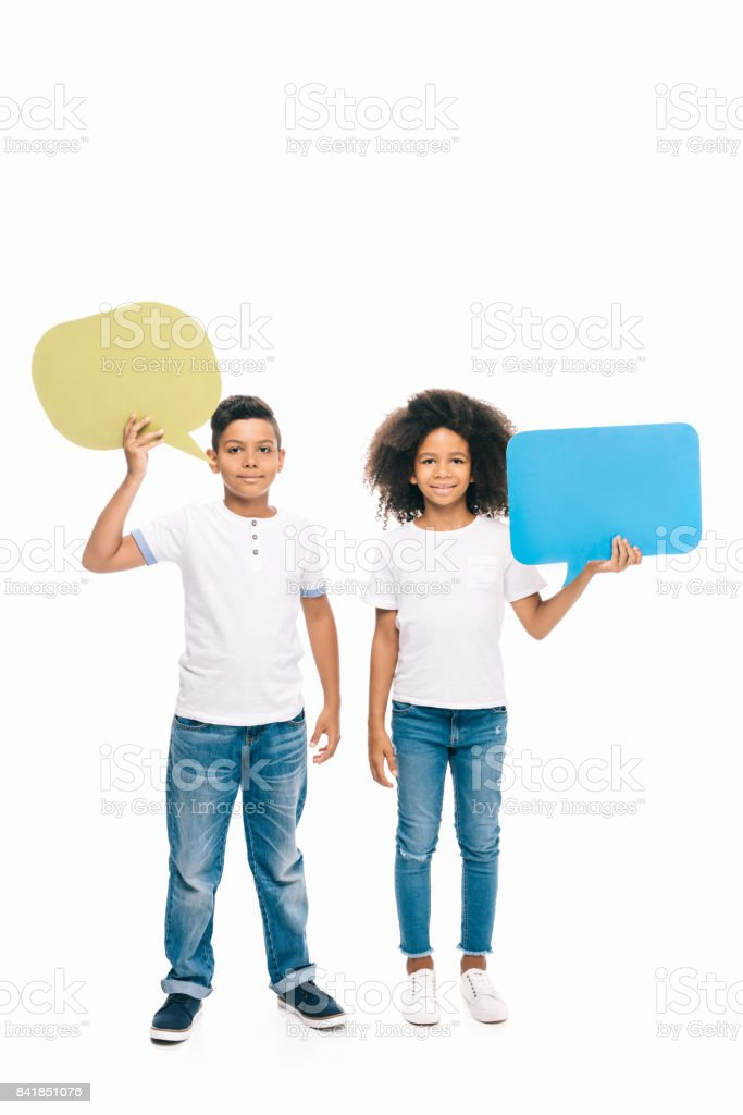 african american kids with speech bubbles stock photo