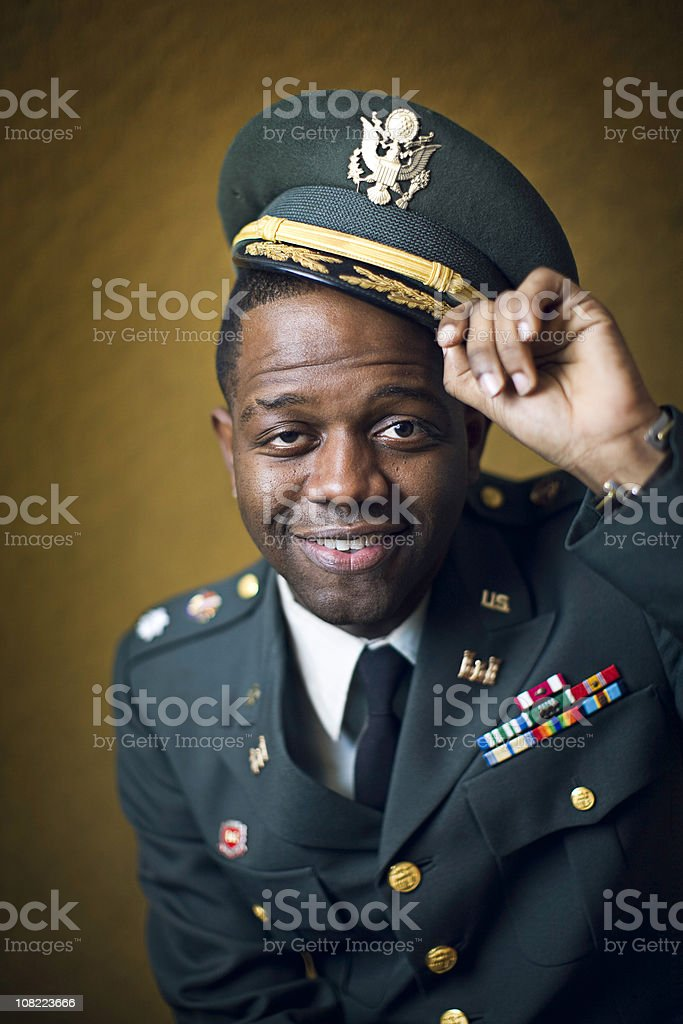 African American Lieutenant Colonel Army Portrait stock photo
