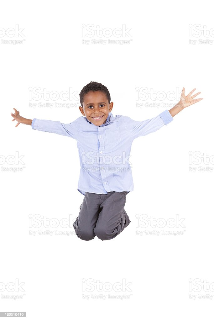 African American little boy jumping  - Black people royalty-free stock photo