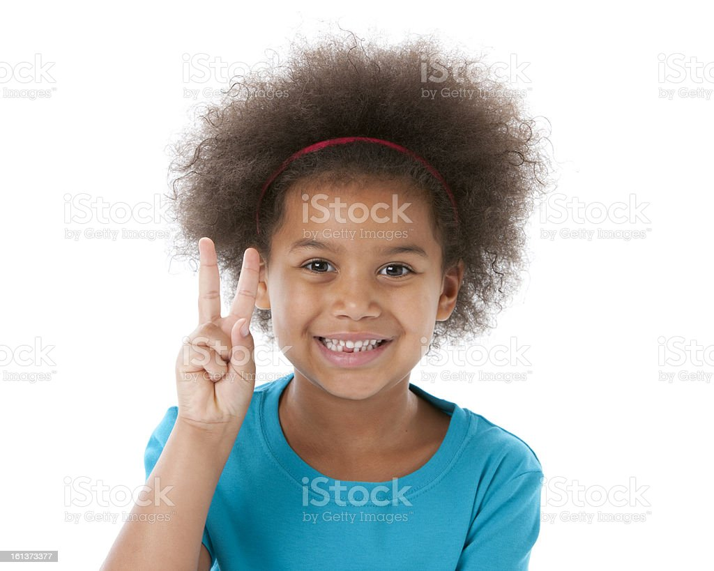 African American Little Girl Gives a Peace Sign Closeup Headshot royalty-free stock photo
