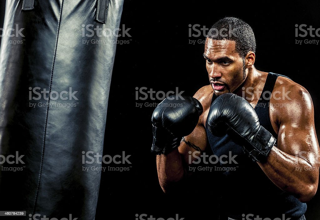 African American Male Boxer stock photo