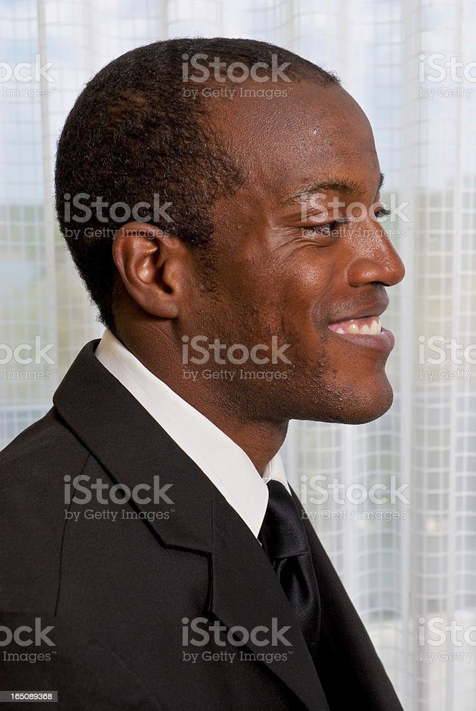 African American male in a business suit stock photo