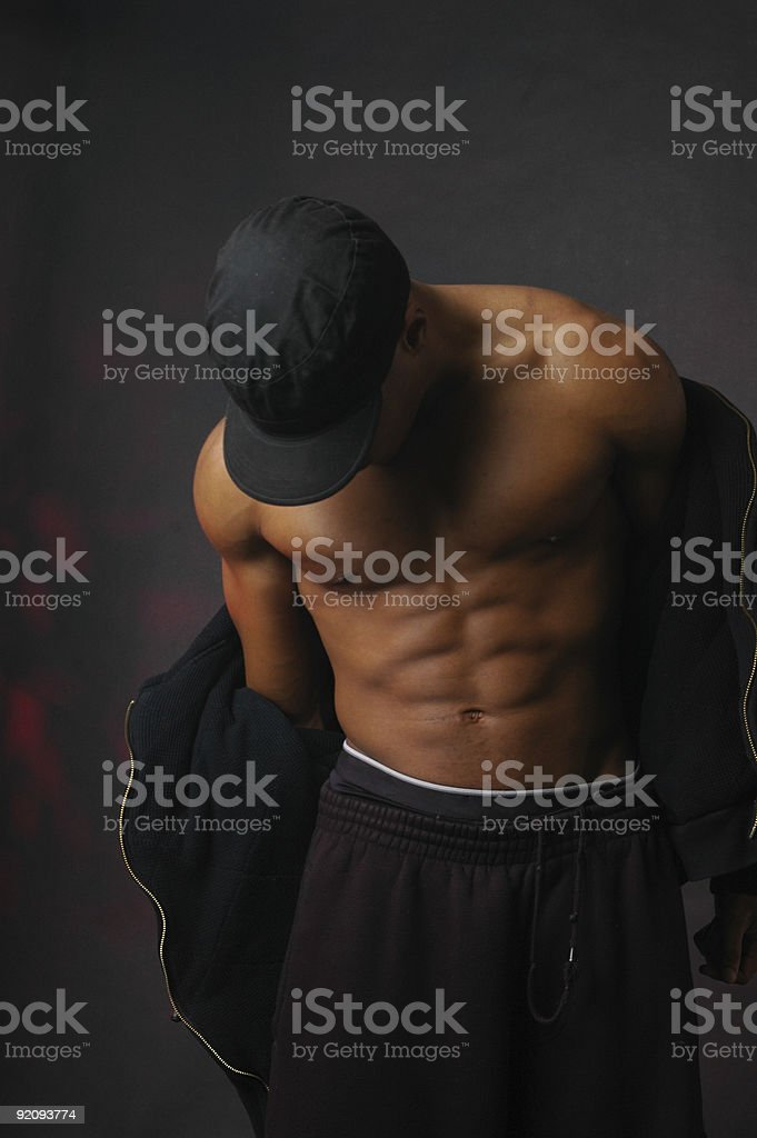 african american male in black hoodie and sweats stock photo
