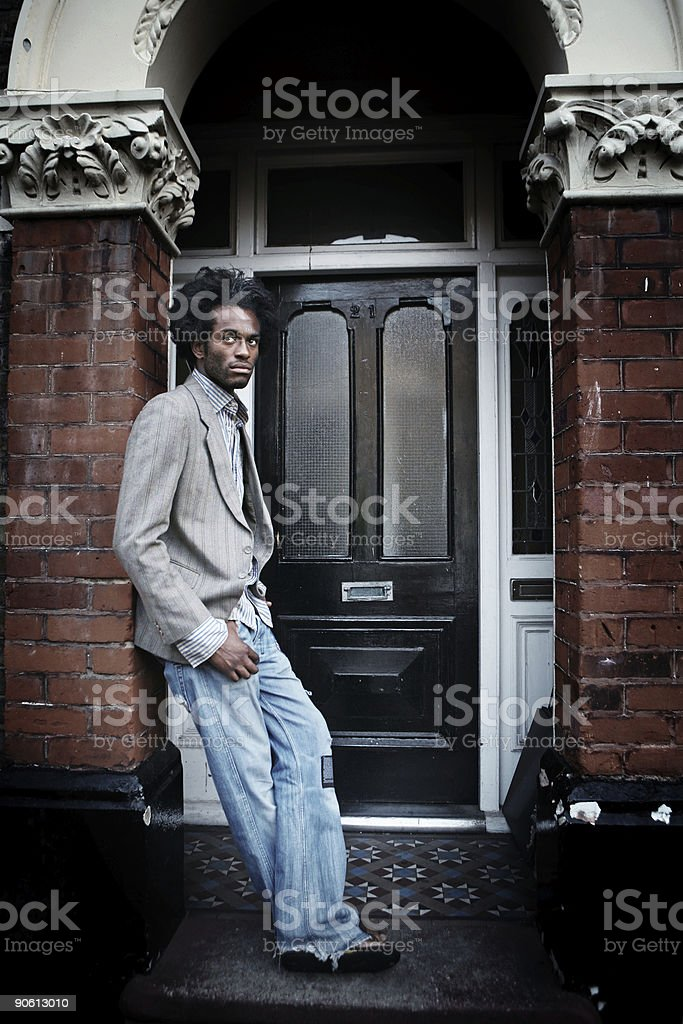 African American Male in Front of a House royalty-free stock photo
