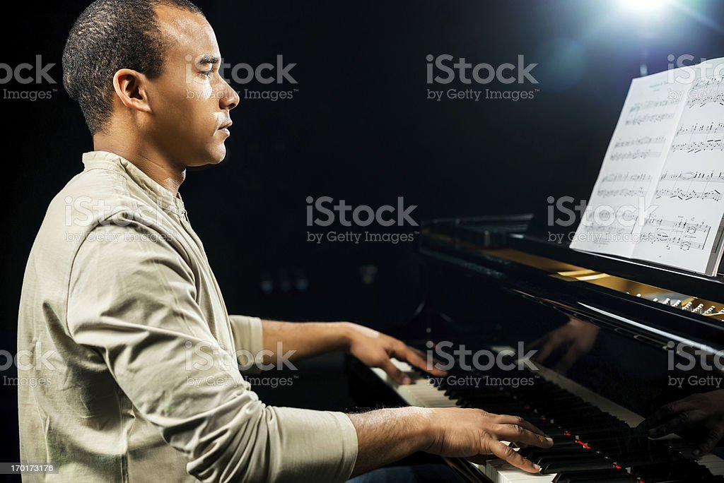 African American male pianist. stock photo
