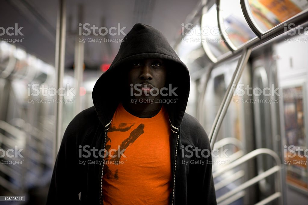 African American Man on Subway, City Life Portrait, Copy Space stock photo