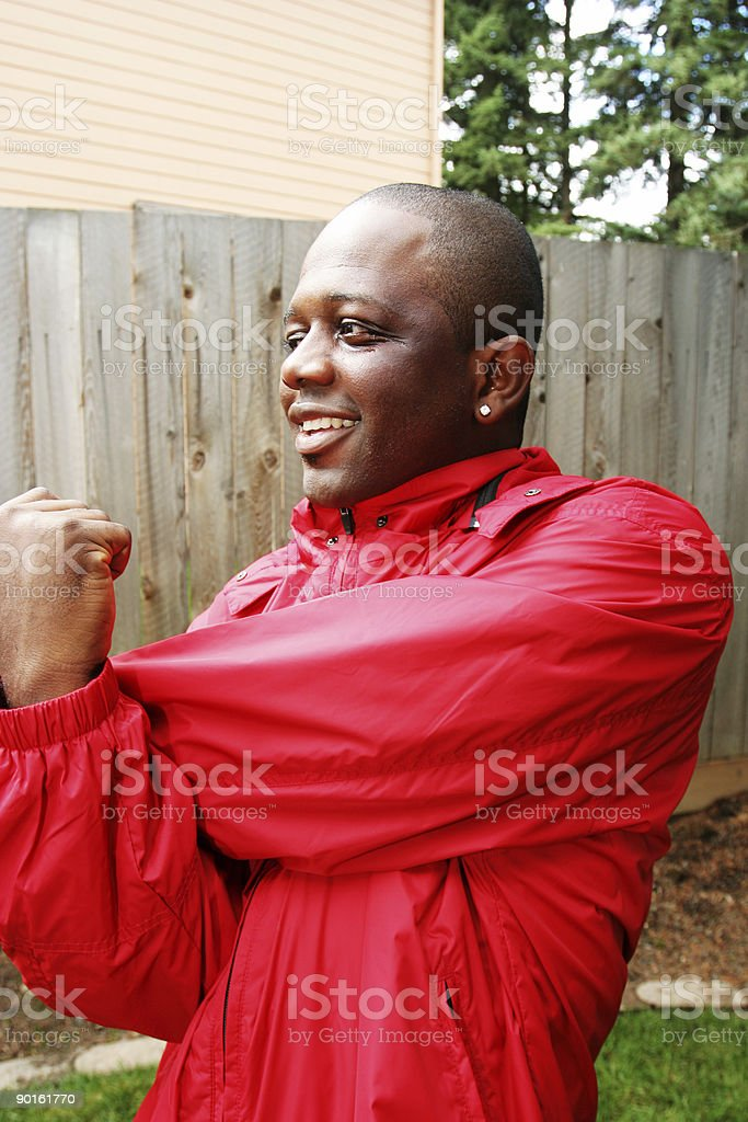 African American Male Stretching royalty-free stock photo