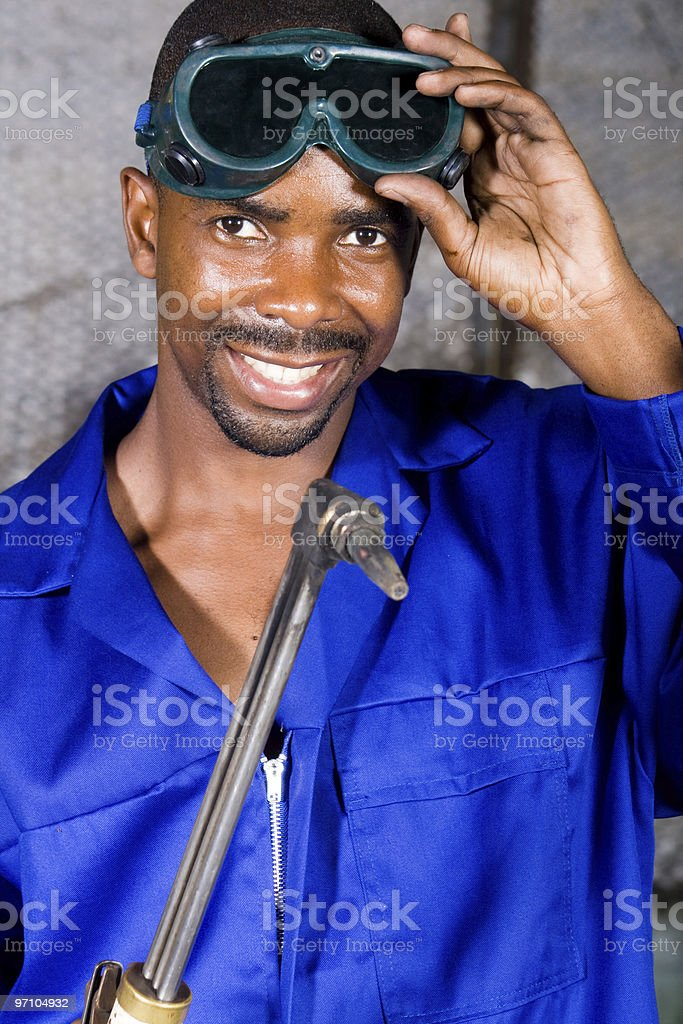 african american male welder royalty-free stock photo