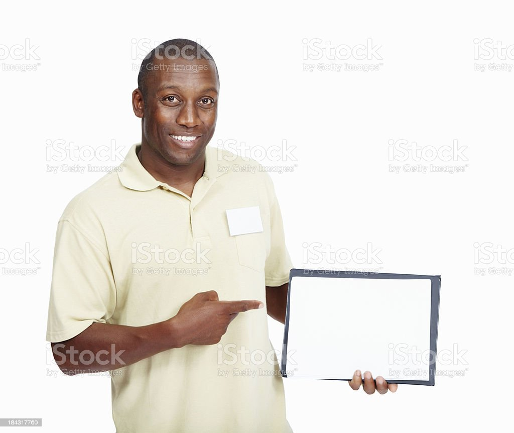African American man advertising blank board royalty-free stock photo