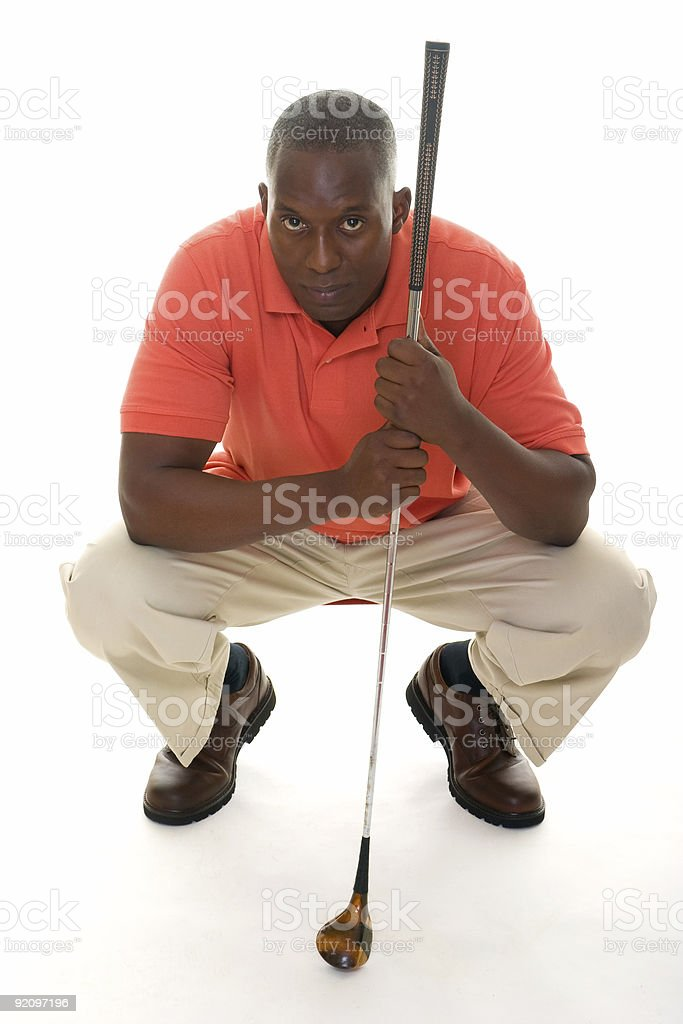 African American Man Holding Golf Club royalty-free stock photo