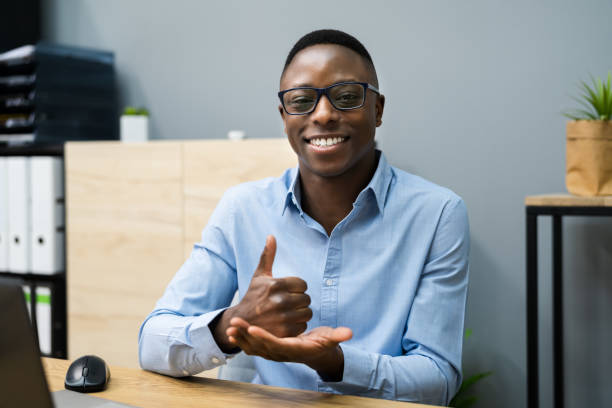 African American Man Learning Sign Language stock photo