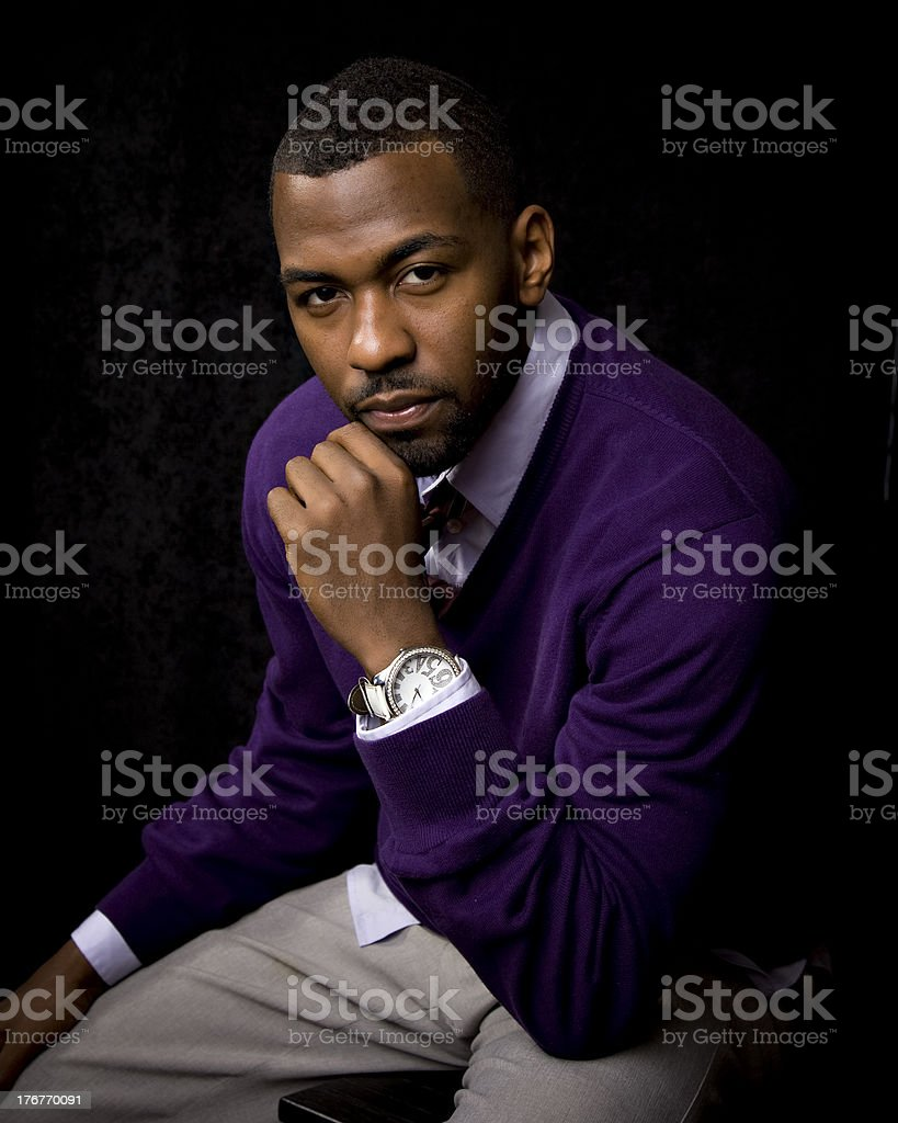 African American Man Looking at Camera With Serious Expression royalty-free stock photo