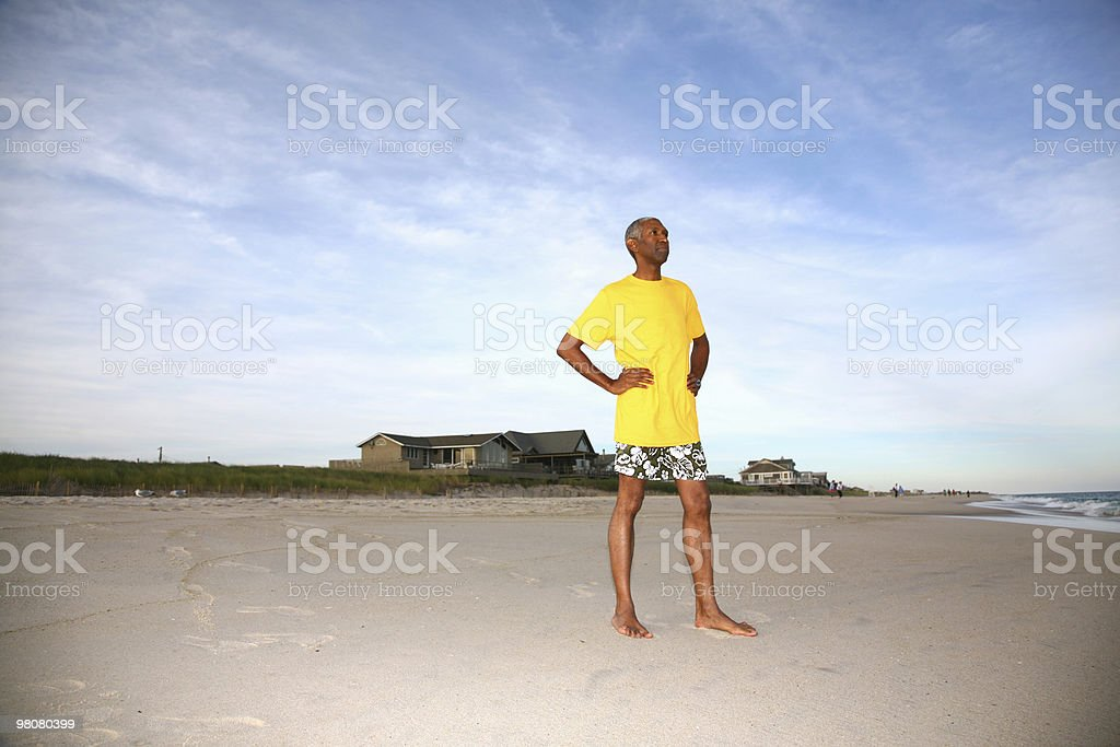 African American Man on Beach royalty-free stock photo
