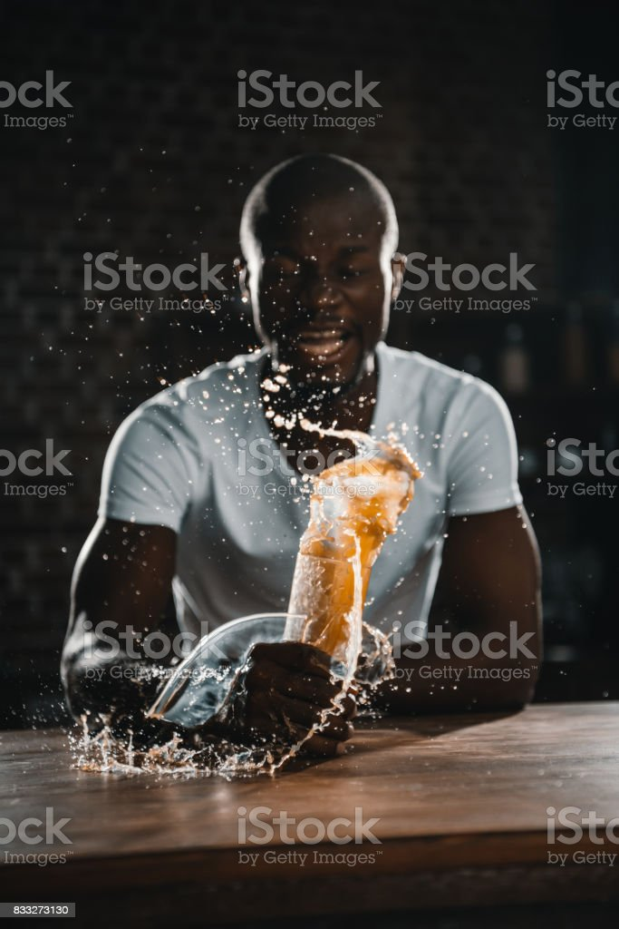 african american man shed juice stock photo
