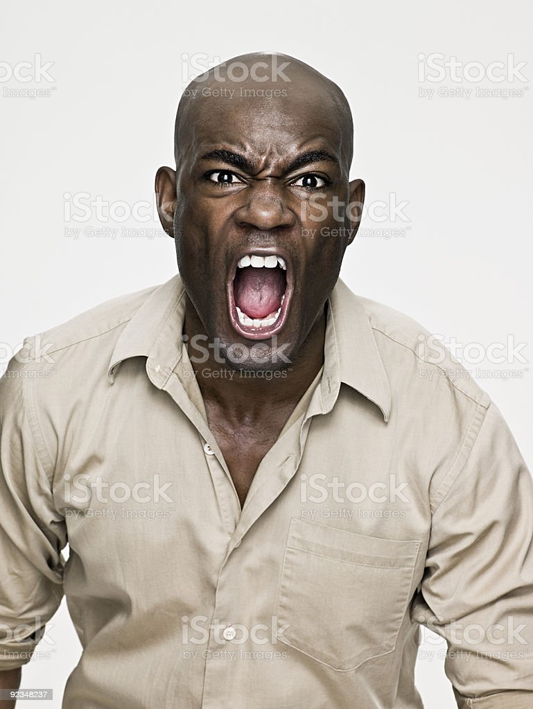 African american man shouting stock photo