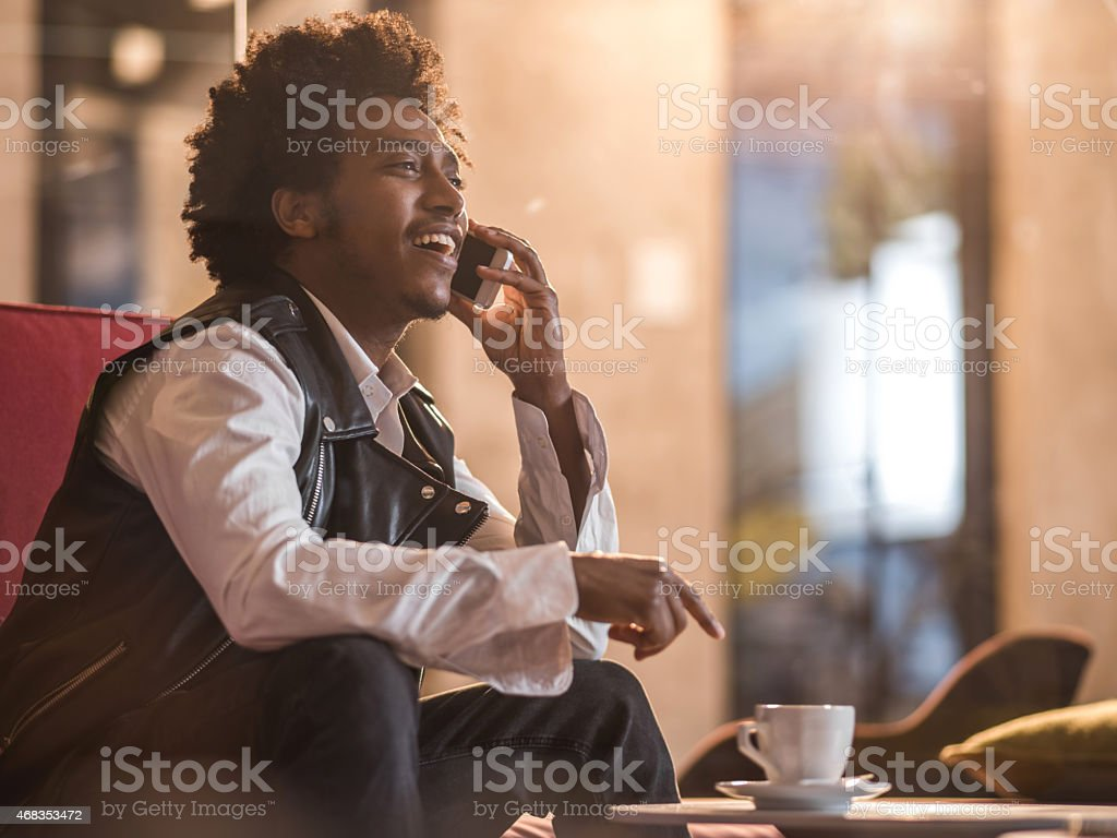 African American man talking on the cell phone. royalty-free stock photo