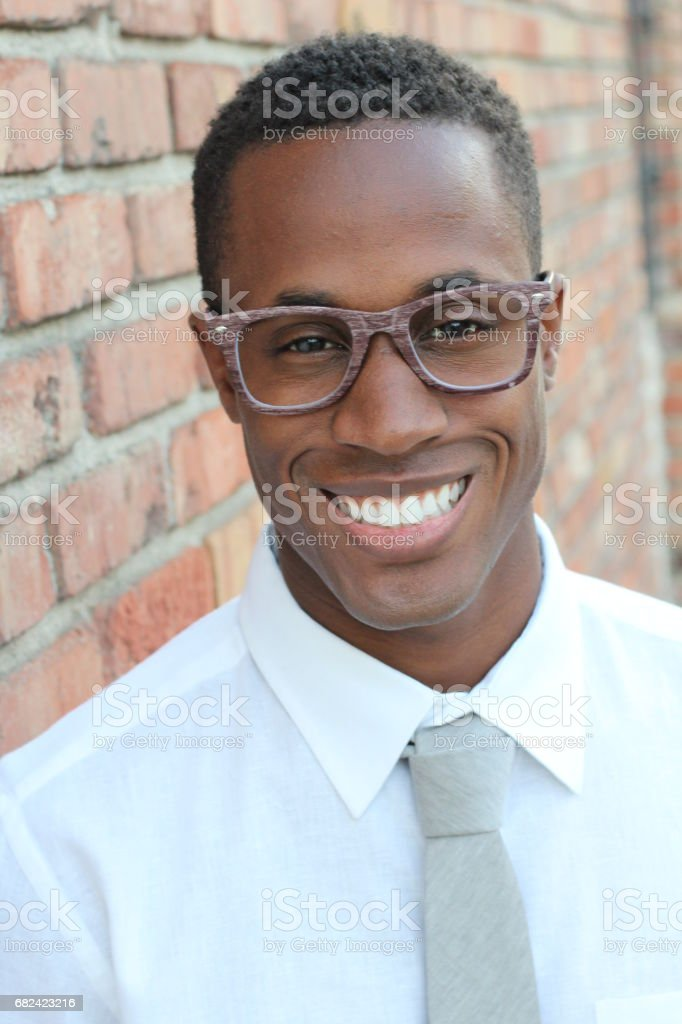 African American man wearing glasses portrait royalty-free stock photo