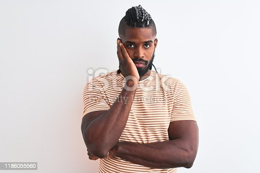 613542420 istock photo African american man with braids wearing striped t-shirt over isolated white background thinking looking tired and bored with depression problems with crossed arms. 1186055560
