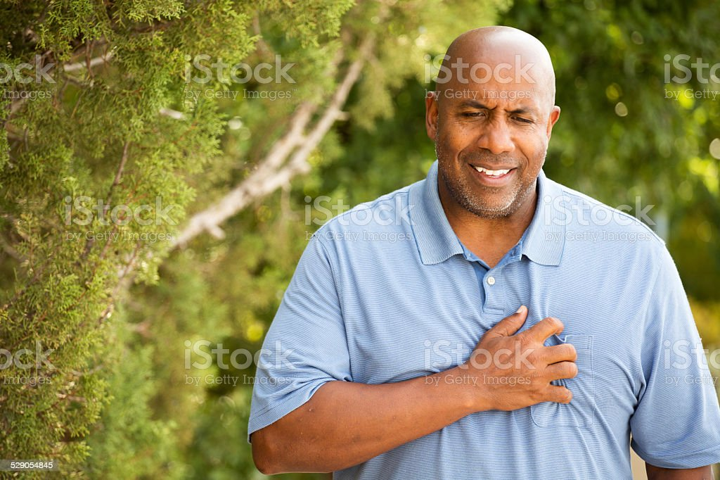 African American man with chest pains stock photo