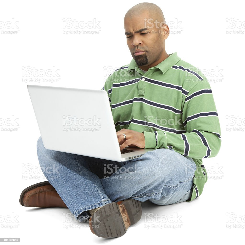 African American Man with Laptop royalty-free stock photo