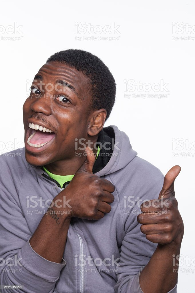 African american man with thumbs up stock photo