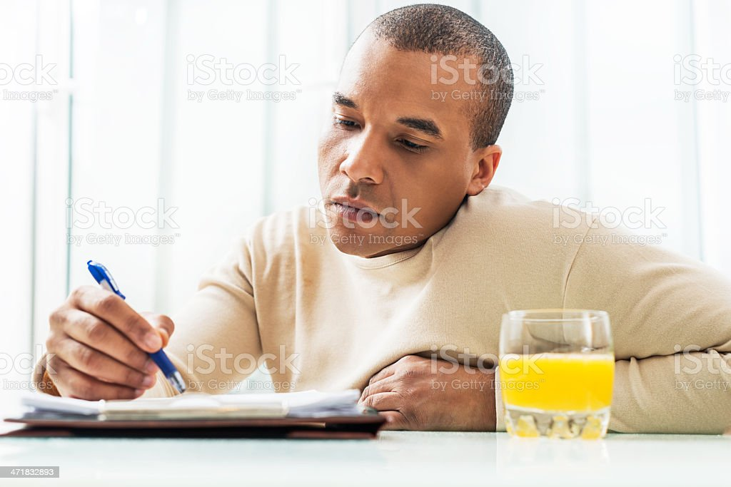 African American man working at home. royalty-free stock photo