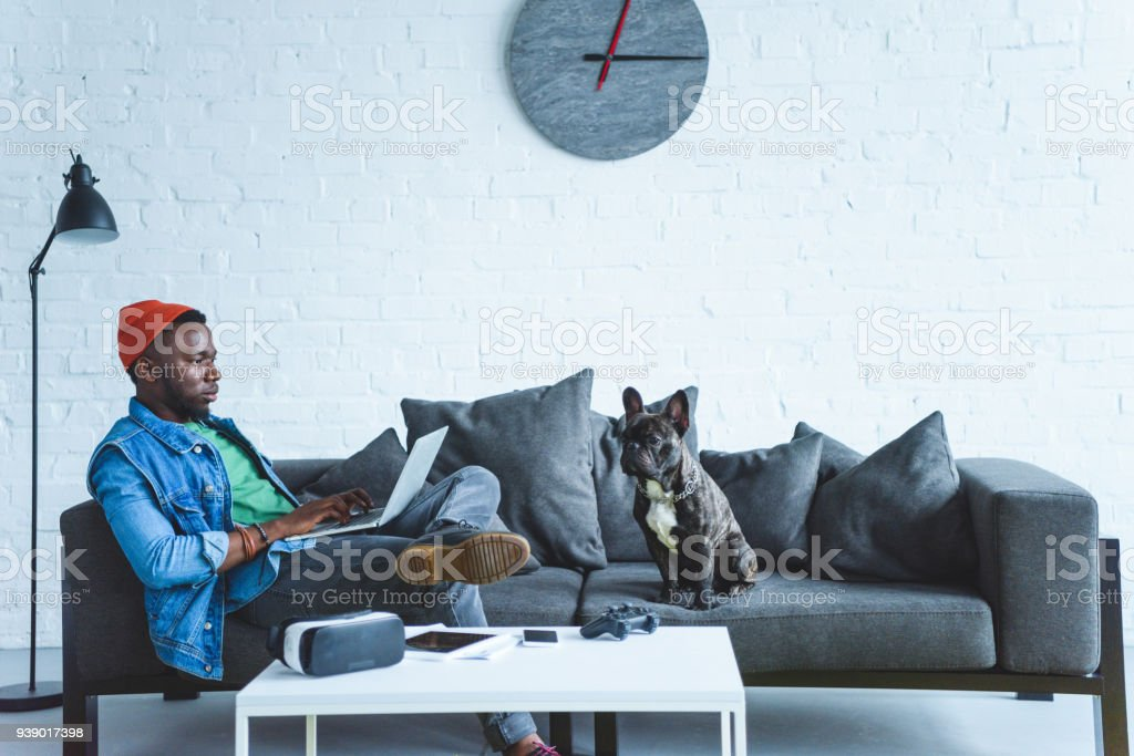 African american man working on laptop while sitting on sofa with bulldog and digital gadgets on table stock photo