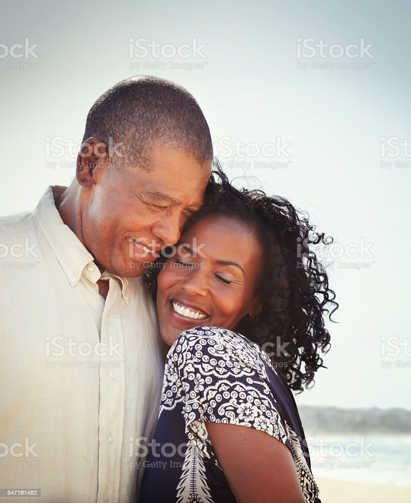 African american mature couple in love stock photo